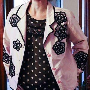 Vintage ANAGE 100 silk pink and black lace blazer.